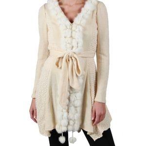 Anthropologie Rabbit Fur trim sweater size Large